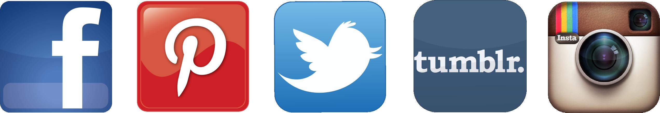 Social media logos png grey